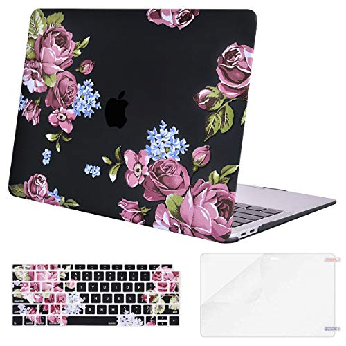 MOSISO MacBook Air 13 Inch Case 2018 Release A1932 with Retina Display, Plastic Pattern Hard Shell & Keyboard Cover & Screen Protector Only Compatible Newest MacBook Air 13, Peony