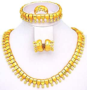 18k Real Gold Plated highly Shiny European style JEWELRY SET with Chunky Necklace, Earring, Bracelet (Bangle) and Ring