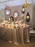 LQIAO 10PCS,120-Inch Round Champagne Blush Shimmer Sequin Fabric Tablecloth Sparkly Wedding Party Decoraiton Table cloth
