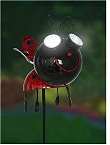 LIMEIDE Solar Garden Stake Lights-Yard Stake Fluttering Insects Ladybug Solar Garden Lights Stakes/Outdoor Decorative Ladybug Bee with Solar Eyes and Rotating Wings Garden Stakes (Red)