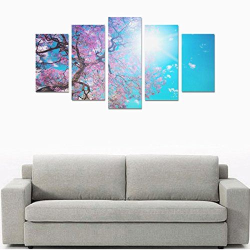 Custom Natural bloom beautiful tree blossom sky dazzling Individual Canvas Print Bedroom or Children's Room Decorative Mural Gallery Personality Wall Paintings 5 Canvas Oil Painting (No Frame) by Personalized Canvas Printing