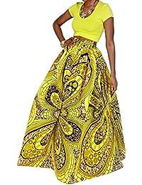 6f76792b79a ... Cultural Wear : African. Women African Floral Print Pleated High Waist  Maxi Skirt Casual A Line Skirt(Purple Geometric