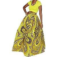 Opción de la novia mujer africana floral geométrico cintura alta Maxi Falda Casual una línea Falda Plisada de impresión (púrpura)