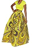 Novia's Choice Women African Floral Print Pleated High Waist Maxi Skirt Casual A Line Skirt(Purple Geometric)
