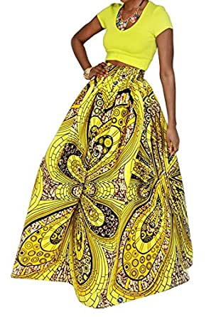 e34f077c4 Image Unavailable. Image not available for. Color: Novia's Choice Women  African Floral Print Pleated High Waist Maxi Skirt ...