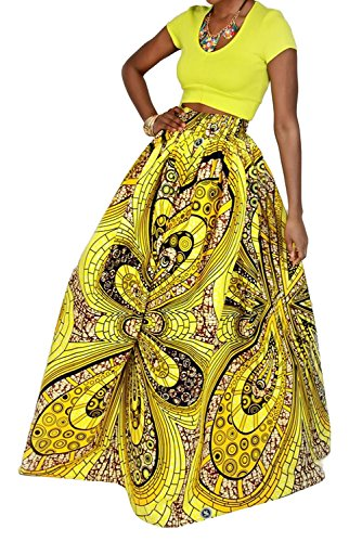 Novia's Choice Women African Floral Print Pleated High Waist Maxi Skirt Casual A Line Skirt(Yellow Geometric 3)