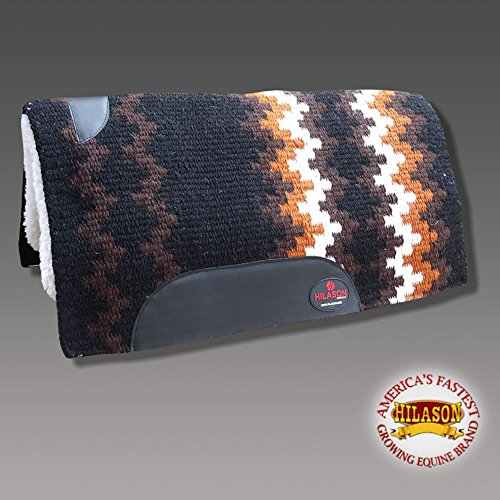 HILASON Made in USA Western Wool Felt Saddle Blanket Pad Black Brown