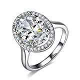 UMODE Jewelry 6 Carat Oval Shaped Stunning Cubic Zirconia CZ Halo Engagement Wedding Ring for Women (9)
