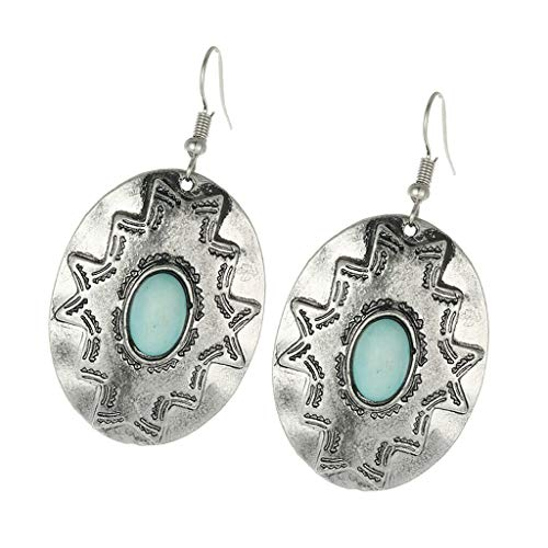 Elegant Turquoise Charms Dangle Earrings Oval Shaped Engraved for Women Lady Necklace Jewelry Crafting Key Chain Bracelet Pendants Accessories Best