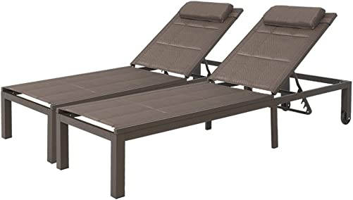 Crestlive Products Adjustable Quilted Chaise Lounge Chair Five-Position Outdoor Recliner with Headrest and Wheels All Weather for Patio, Beach, Yard, Pool 2 PCS Brown