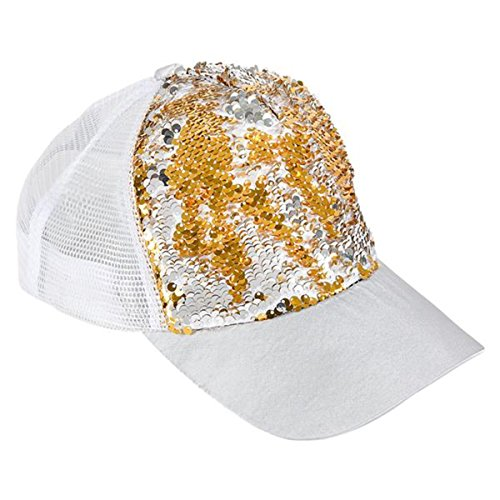(Reversible Sequin Baseball Cap ~ Fashionable Sequined Mesh Back Trucker Hat (Gold & Silver on White))