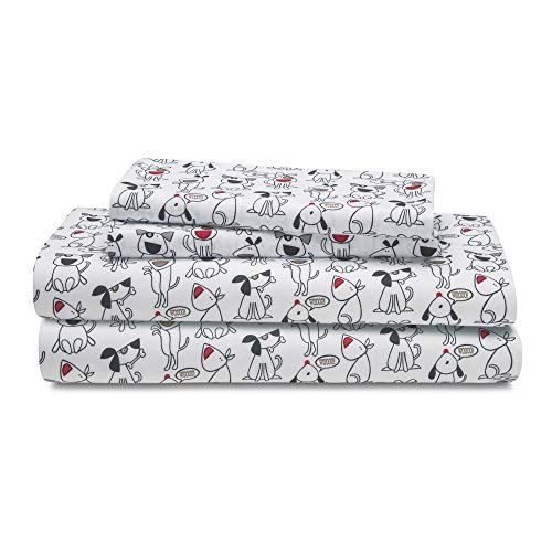 HowPlum Dog Twin Sheet Set Microfiber Bedding Puppy Pet Animal Lover Black White Red (Set Dog Sheet)