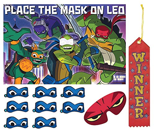 Ninja Turtles Pin The Tail on The Donkey Style Party Game with Blindfold & Stickers! Plus 1st Winner Ribbon!]()