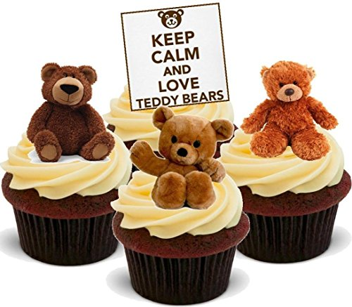 Cute Keep Calm Love Teddy Bears Mix Picnic - Fun Novelty Birthday PREMIUM STAND UP Edible Wafer Card Cake Toppers Decoration