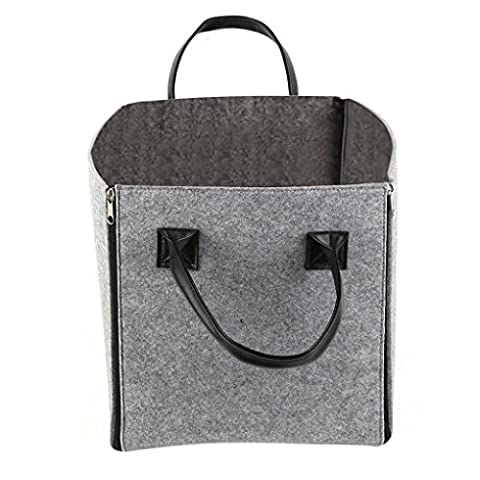 Starsource Homes Collapsible Zipped Fabric Felt Decro Tote Storage Cube Bin Bakset Box Toy Container Closet Tubs,2 Color