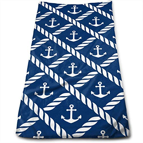 - Nautical Anchor Chevron Net Navy Compressed Quick-Dry Velour Fingertip Towels Washcloth - Carry-on, Durable, Lightweight, Commercial Grade, Ultra Absorbent - 12x27.5 Inches