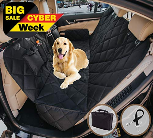 EVOest Dog Car Seat Cover, Pet Seat Cover for Cars/Trucks/ SUV's, Hammock Convertible, 100% Waterproof Pet Back Seat Protector with Extra Side Flaps, Bonus Pet Seat Belt & Tote Bag
