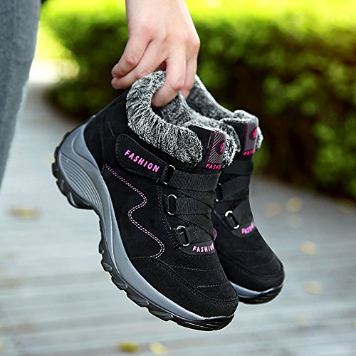 Gomnear Botas De Montaña Para Mujer Zapatos De Trekking Calzado Forrado De Piel High Rise Non Slip Zapatillas De Deporte De Invierno Black Rose Red