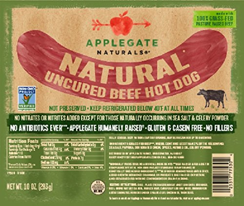 Applegate Organics Uncured Hot Dogs, 10 Ounce (Pack of 12) by Applegate