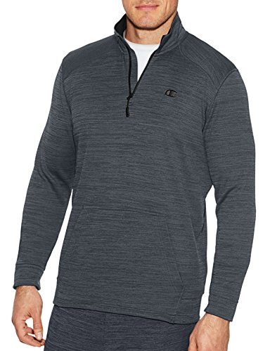 Champion Men's Premium Performance Fleece Quarter-Zip Pullover, Stealth Heather/Black, Medium