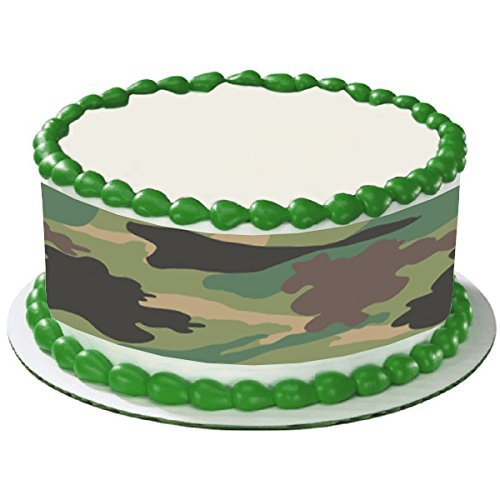 - CAMO CAMOUFLAGE ARMY GREEN TRANDITIONAL HUNTING HUNTER CAKE SIDE STRIPS Cake Topper Edible Icing Image
