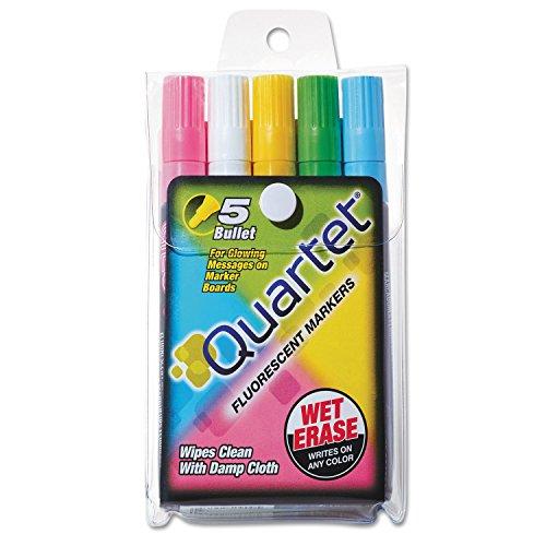 - Quartet® Glo-Write Fluorescent Markers, Five Assorted Colors, 5/Set