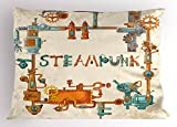 Printawe Colorful Pillow Sham, Industrial Machines with Gears and Chains Steampunk Themed Cartoon Style Design, Decorative Standard King Size Printed Pillowcase, 36 X 20 inches, Multicolor