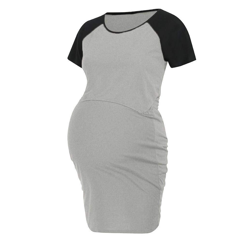 baskuwish Womens Maternity Dress Labor//Delivery//Nursing Hospital Nightgown Maternity Breastfeeding Dress Sleepwear