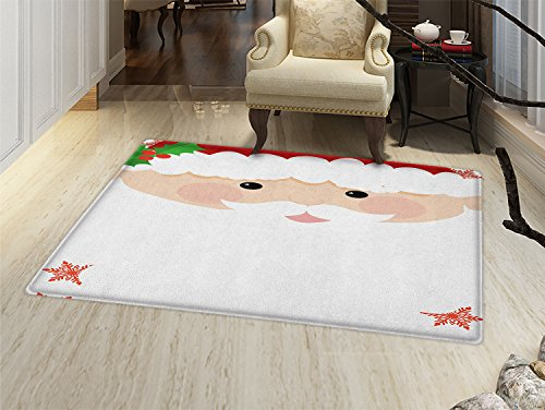 White Mistletoe Santa Hat - smallbeefly Kids Christmas Door Mat indoors Cartoon Face of Santa with Pink Cheeks White Beard and Mistletoe on His Hat Customize Bath Mat with Non Slip Backing Multicolor