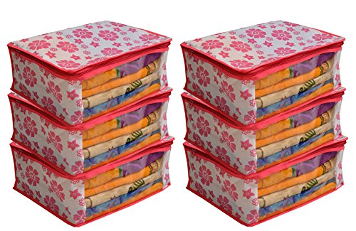 """Kuber Industriesâ""""¢ Non Woven Saree Cover Pink Floral Design Set of 6 Pcs"""