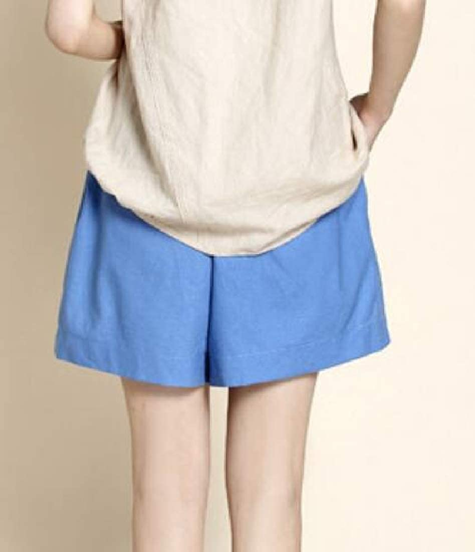 ZXFHZS Women Casual Drawstring Waist Comfy Cotton Linen Shorts