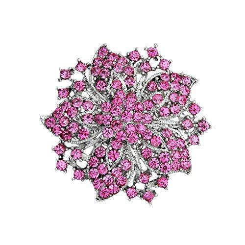 Ezing Fashion Jewelry Beautiful Silver Plated Rhinestone Crystal Brooch Pin For Woman (pink)
