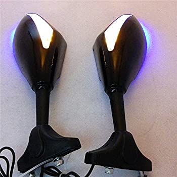XKH Group Motorcycle Blue Led Mirror For Yamaha Fzr Yzf Fz1 Fazer Fjr1300 Ninja Zx10R Zx 12R Er 6F new