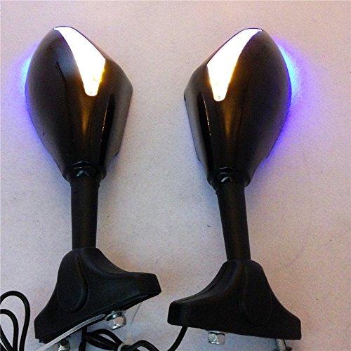Espejo retrovisor LED azul para motocicletas
