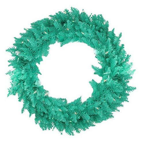 (Mikash 48 in. Seafoam Ashley Spruce Pre-lit Wreath | Model WRTH - 563)