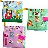 3 Piezas Bebé Suave Libro de Tela Infantil de Dibujos Animados Temprano Educativo Regalo de Preschool Animal Número Carta de Tela libros