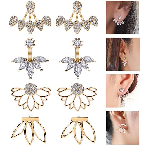 JieyueJewelry 4 Pairs Lotus Flower Earrings Stud Jacket for sale  Delivered anywhere in USA