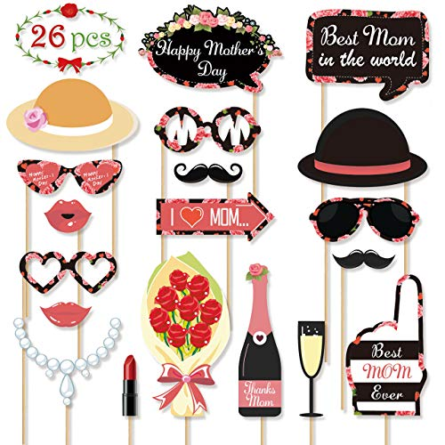 Mothers Day Photo Booth Props - Best Mom Ever Carnation Party Decorations Gifts, Fun Photography Posing Kit Supplies, DIY Crafts Favors for Birthday Wedding Holiday, Dress up Backdrop Accessories -
