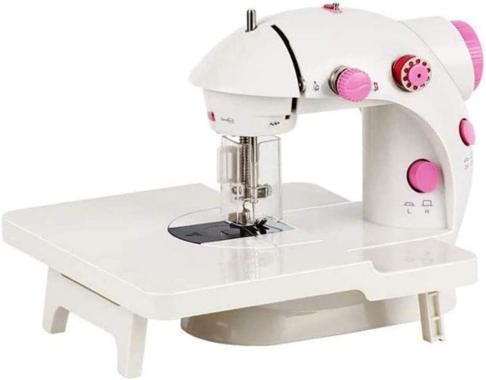 DSHUJC Mini máquina de Coser, de Doble Velocidad Máquina de Coser portátil máquina con extensión de la Mesa de Costura Kit de luz, para Principiantes Inicio Viajes,Rosado