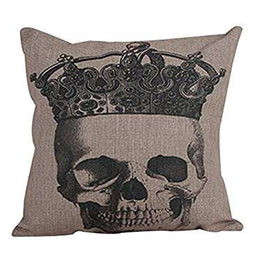 Value Valley Cotton Linen Square Decorative Throw Pillow Case Cushion Covers,Crown skull,18  * 18