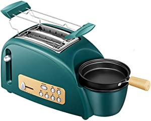 Jueven Toaster, Automatic Breakfast Machine with Egg Boiler, 2 Slice Toaster with Mini Frying Pan, Steamer, Wide Slot, 5 Modes of Browning Control, 1200 W, Stainless Steel