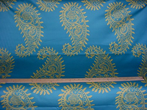 Duralee Anana Paisley in Aegean - Grand Floral Cotton Print Designer Upholstery Drapery Fabric - By the Yard - Paisley Chenille Tapestry Fabric