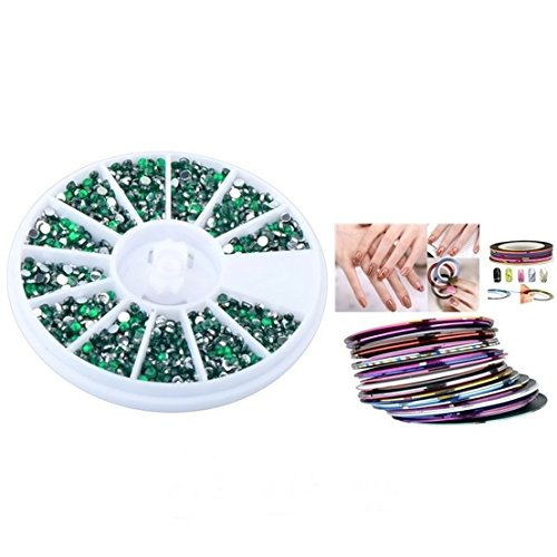 Loreal Color Gems Activator (Deluxe Art Tips Gems Stickers Rhinestones Color Dark Green with 30pcs Mixed Tape Line)