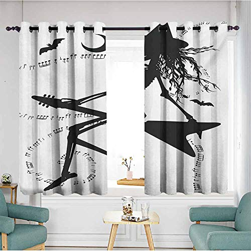 AndyTours Waterproof Window Curtains,Music Witch Flying on Electric Guitar Notes Bat Magical Halloween Artistic Illustration,Energy Efficient, Room Darkening,W55x39L,Black White -
