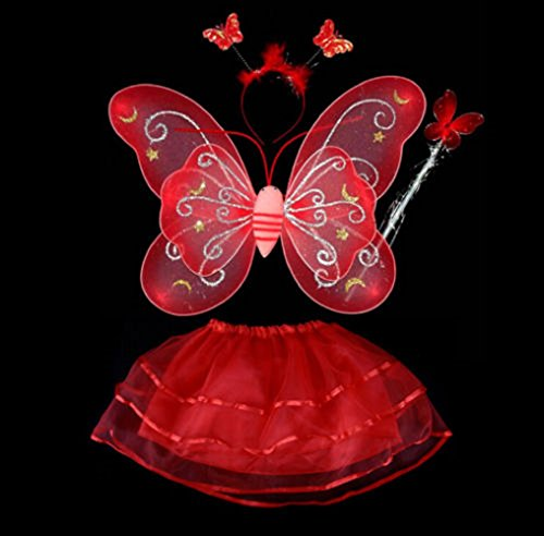 Fairy Butterfly Wing 4 Piece Set Costume Tutu Ballerina Dress up Dance skirt by Mammoth Sales (Red) (2)