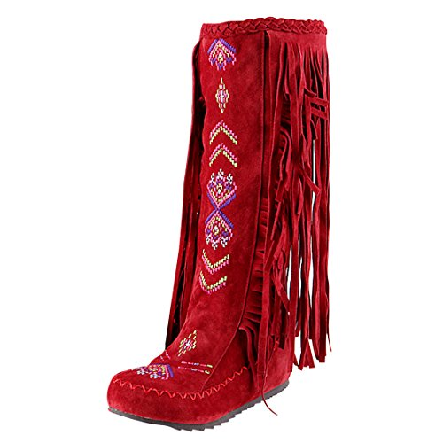 YE Women's Mid Heel Platform Wedge Round Toe Fringe Mid Calf Boots with Tassels Autumn Winte Fashion Height Increasing Shoes Red nTsNLKNcj2