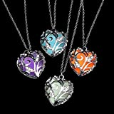 2pcs Glow in Dark Women Necklace Hollow Out Heart
