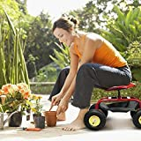 COSTWAY Garden Cart W/Rolling Seat Work Tool Tray Heavy Duty Stool Scooter Gardening Planting Kitchen Home Indoor Outdoor (Red)