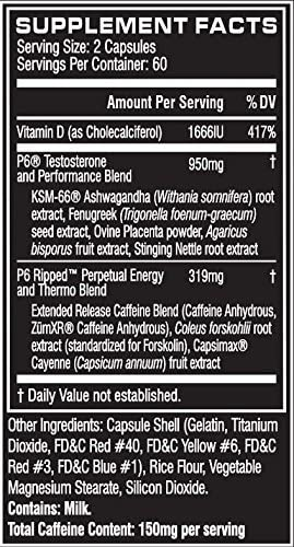 Cellucor P6 Ripped Testosterone Booster For Men + Thermogenic Weight Loss Formula, Build Strength & Lean Muscle, Boost Metabolism & Energy, 120 Count 3