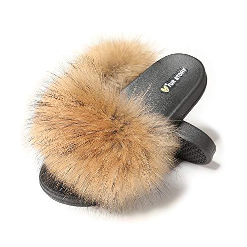 Fur Story Women's Fox Fur Slides Furry Slide Sandal(11, Raccoon Fur)]()